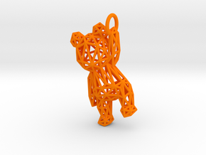 Teddy Bear Pendant - ring, edge - 48mm in Orange Processed Versatile Plastic
