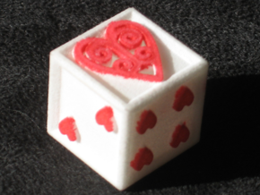 Ace Die Heart in White Natural Versatile Plastic