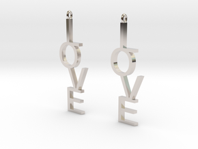 Love Earrings Large  in Rhodium Plated Brass
