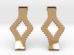 Tetris Earrings in Polished Brass