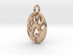 Tiny paw print ferret necklace in 14k Rose Gold Plated Brass