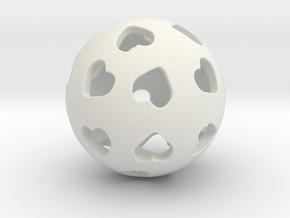 Hearts Orb Pendant in White Natural Versatile Plastic