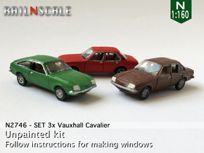 SET 3x Vauxhall Cavalier (N 1:160) in Smooth Fine Detail Plastic