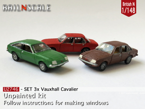 SET 3x Vauxhall Cavalier (British N 1:148) in Smooth Fine Detail Plastic