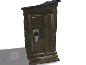 Scrap-lumber Ramshackle Outhouse, N-Scale (1:160) in Smooth Fine Detail Plastic