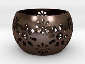 Tea light/Candle Holder in Polished Bronze Steel