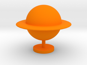 Game Piece, Ringed Planet in Orange Processed Versatile Plastic