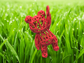 Teddy Bear pendant - ring, edges - 60mm in Red Processed Versatile Plastic