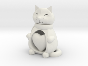 Cat with Heart in White Natural Versatile Plastic