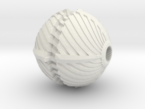 Spiral Bead in White Natural Versatile Plastic