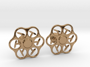 Hex Drone Cufflinks in Polished Brass