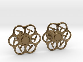 Hex Drone Cufflinks in Polished Bronze