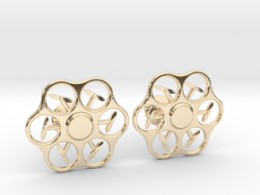 Hex Drone Cufflinks in 14K Yellow Gold
