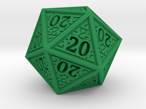 Hedron D20 (All 20's version) Solid in Green Processed Versatile Plastic