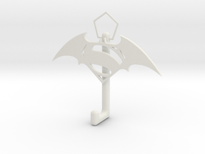 Superman And Batman Logo hook in White Natural Versatile Plastic