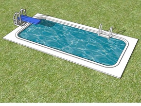 15mm Swimming Pool (Rectangular) in White Natural Versatile Plastic