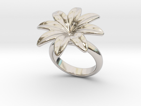 Flowerfantasy Ring 15 - Italian Size 15 in Rhodium Plated Brass