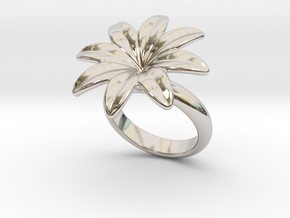 Flowerfantasy Ring 16 - Italian Size 16 in Rhodium Plated Brass