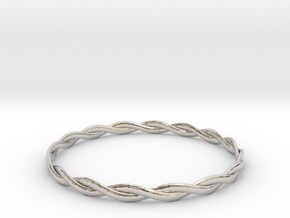 Double Twist Bangle in Rhodium Plated Brass