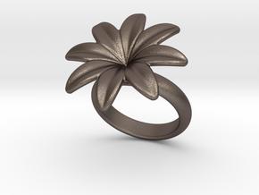 Flowerfantasy Ring 29 - Italian Size 29 in Polished Bronzed Silver Steel
