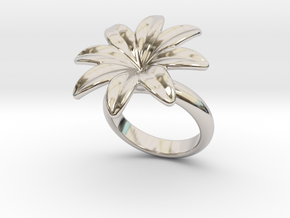 Flowerfantasy Ring 30 - Italian Size 30 in Rhodium Plated Brass