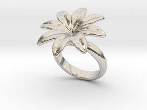 Flowerfantasy Ring 31 - Italian Size 31 in Rhodium Plated Brass