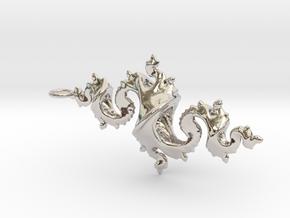 Dragon Pendant 6cm in Platinum