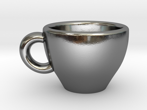Cappuccino Mug Pendant / Charm (Large) in Polished Silver