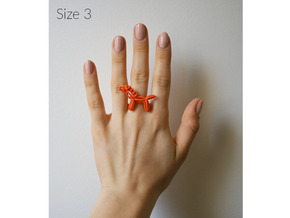 Balloon Horse Ring size 3 in Orange Strong & Flexible Polished
