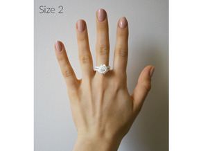 Single Rose Ring size 2 in White Natural Versatile Plastic