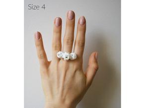 Trio Rose Ring size 4 in White Natural Versatile Plastic