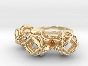 Trio Rose Ring size 4 in 14k Gold Plated Brass
