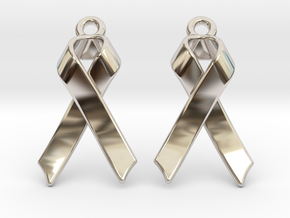 Classic Ribbon Earrings in Rhodium Plated Brass