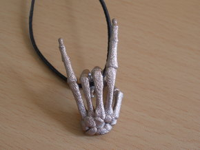 Devil Horns Left Hand in Polished Bronzed Silver Steel