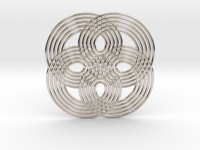 0531 Motion Of Points Around Circle (5cm) #008 in Rhodium Plated Brass