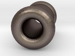 4 gauge (5mm) Double Flare Ear Tunnel  in Polished Bronzed Silver Steel