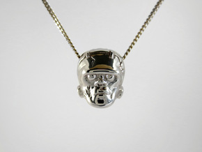 Reversible Frankenstein head pendant in Rhodium Plated Brass