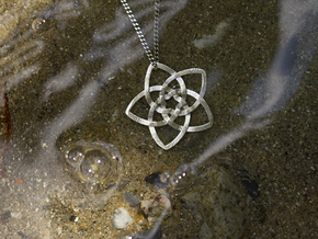 Venus flower small in Raw Silver