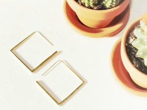 Square Earring in Polished Brass