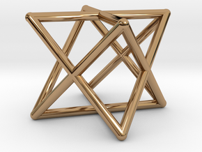 Merkaba Round Wires 1.5cm Cube in Polished Brass