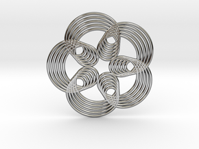0571 Triple Rotation Of Points (5 cm) #003 in Fine Detail Polished Silver