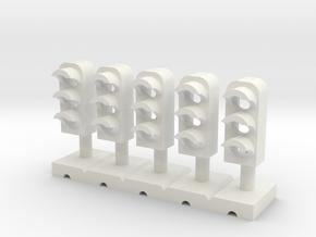 Dwarf Signal 3 Light (5) - HO 87:1 Scale in White Natural Versatile Plastic