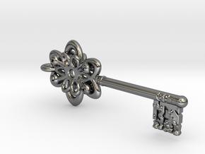 Vault Key Necklace Pendant in Fine Detail Polished Silver