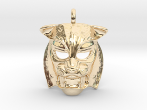 Tiger kabuki-style  Pendant in 14k Gold Plated Brass