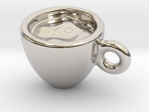Coffee Cup Earring Or Pendant in Platinum