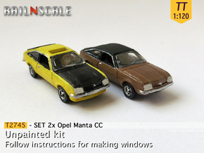 SET 2x Opel Manta CC (TT 1:120) in Smooth Fine Detail Plastic