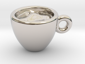 Coffee Cup Little Earring in Rhodium Plated Brass