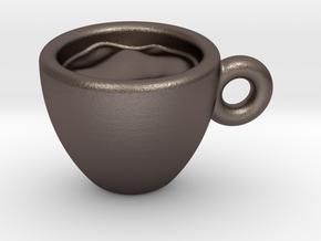 Coffee Cup Little Earring in Polished Bronzed Silver Steel