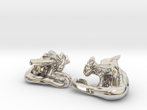 Cuddley Baby Dragons in Rhodium Plated Brass