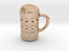 Mug Of Beer Keychain in 14k Rose Gold Plated Brass